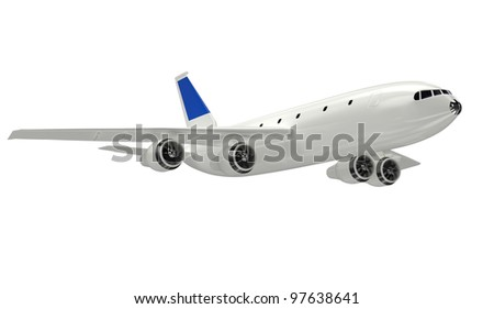 airplane isolated on white background. 3d rendered image
