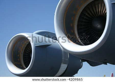 airplane jet engine detail - stock photo