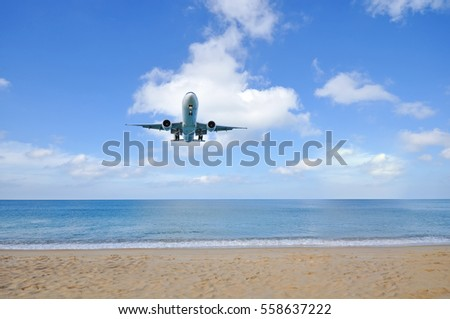 airplane landing over the sea
