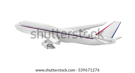 Airplane model isolated on a white background.