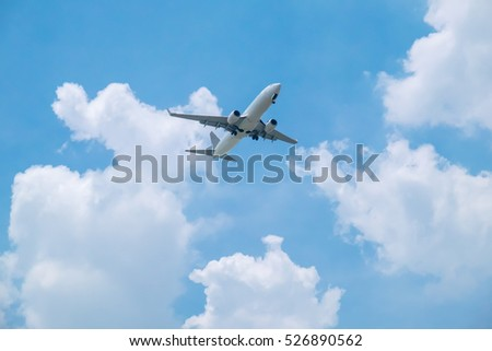 Airplane on bright blue sky background with white clouds