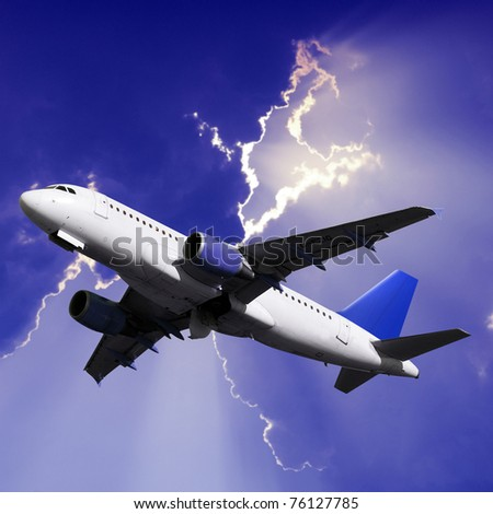 airplane on fly - stock photo