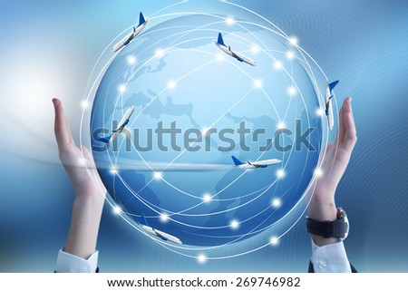 Airplane on hand world map globe imagen de archivo stock 269746982 airplane on hand with world map and globe icon gumiabroncs Gallery