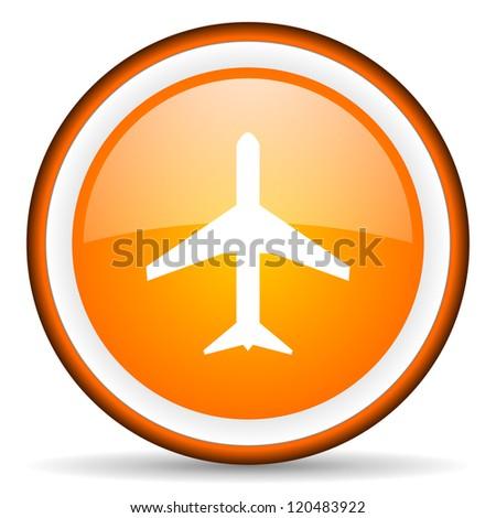 airplane orange glossy circle icon on white background - stock photo