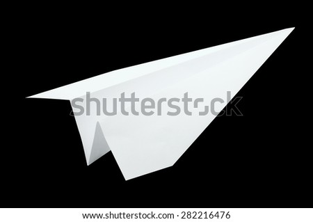 Airplane origami, folding paper in airplane shape, white color isolated on black background - stock photo