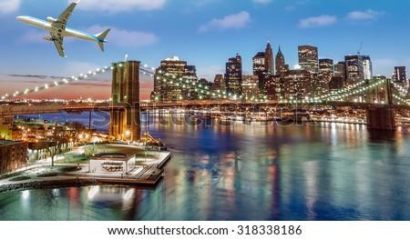 Airplane overflying Brooklyn Bridge in New York City. - stock photo