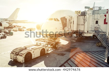 Airplane preparation before boarding. concept about travels and transportation - stock photo