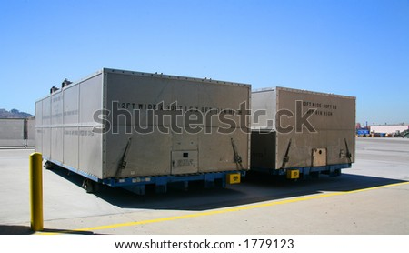 Airplane Production Factory Shipping Containers - stock photo