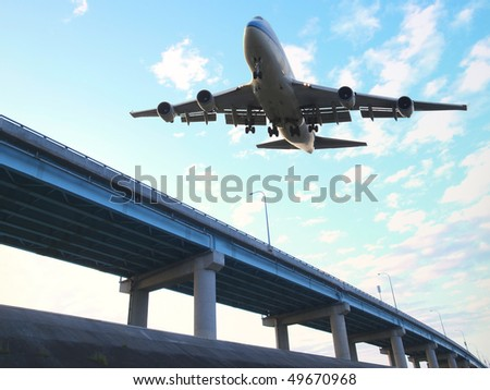 Airplane ready for landing - stock photo