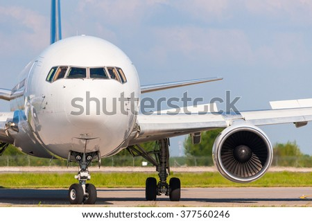 Airplane ready to fly. Travel and transportation industry concept - stock photo