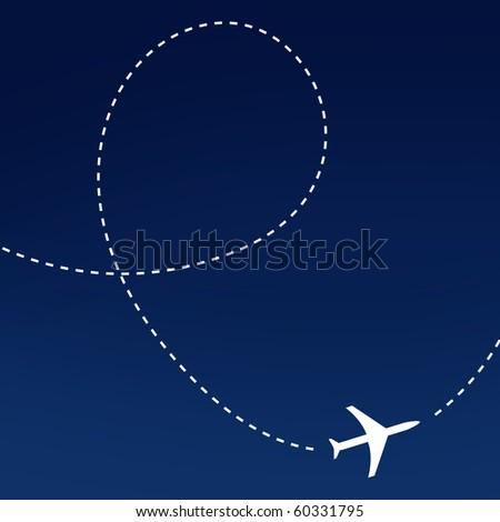 Airplane route - stock photo