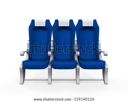 Airplane Seats Isolated - stock photo