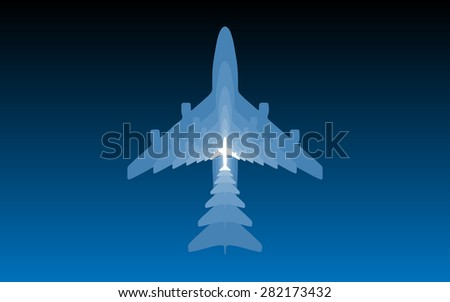 Airplane silhouettes on blue background. Wallpaper version. - stock photo