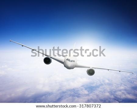 Airplane Skyline Horizon Flight Cloud Concept - stock photo