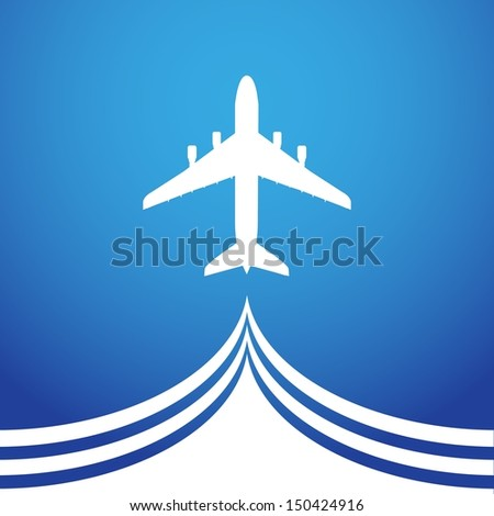 aircraft vapor trail on blue background stock vector