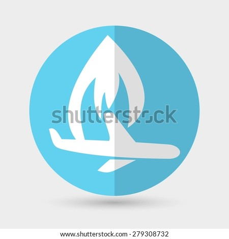 airplane symbol on a white background - stock photo