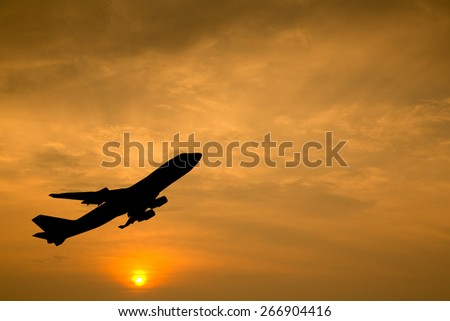 Airplane take off for transport passager with twilight time.