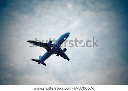 Airplane, the airplane landing (in underwater colours)