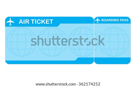 Airplane ticket blank space. Blue boarding pass coupon. Detailed blank of plane ticket.  - stock photo