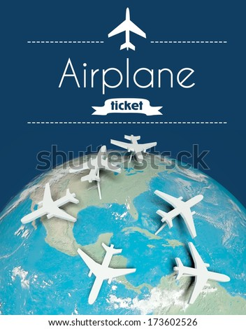 Airplane ticket concept, airplanes on globe - stock photo