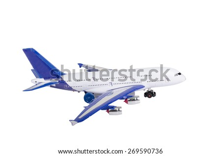 Airplane toy isolate on white background - stock photo