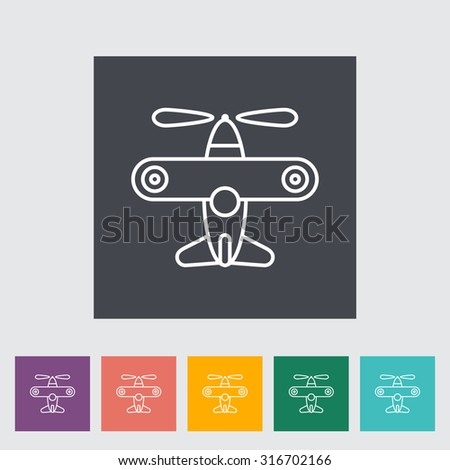 Airplane toy thin line flat  related icon set for web and mobile applications. It can be used as - logo, pictogram, icon, infographic element.  Illustration.  - stock photo