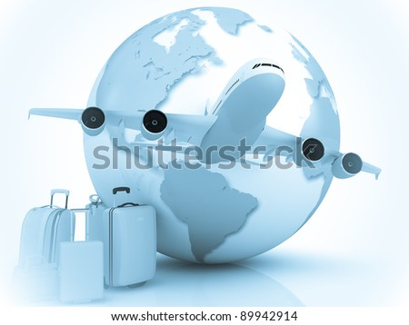 Airplane traffic with a globe and luggage - stock photo
