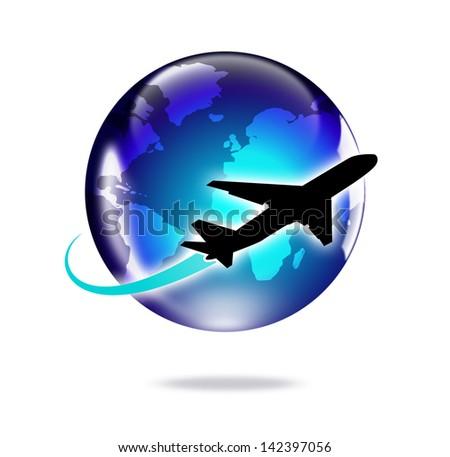 Airplane travel around the world - stock photo