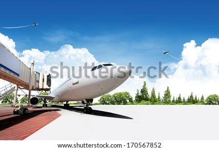 Airplane Travel Background - stock photo