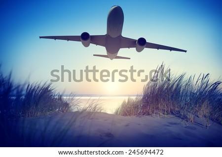 Airplane Travel Destination Outdoors Concept - stock photo