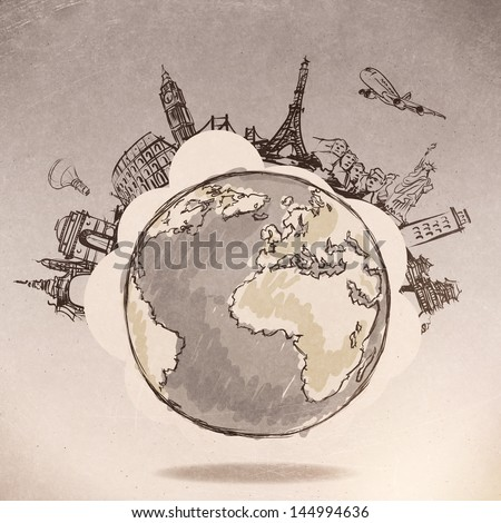 airplane traveling around the world as vintage style concept - stock photo