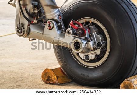Airplane wheel - stock photo