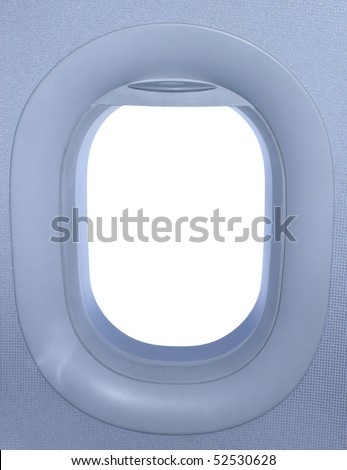 Airplane window. View has been removed from the image