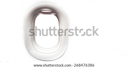 Airplane windows and place for text - stock photo