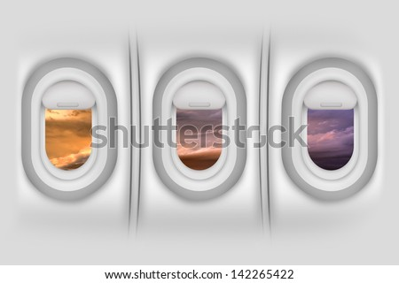 Airplane Windows / Porthole - Aircraft Side Passengers Windows From Inside. Beautiful Sunset Outside. Airplanes / Flight Illustration. Detailed Illustration - Wall Material Texture. - stock photo