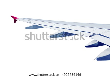 airplane wing isolated on white background - stock photo