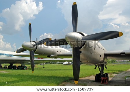 airplane wing with propellers - stock photo