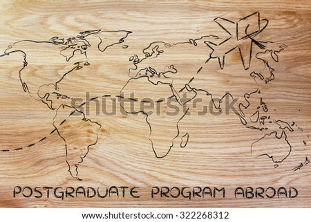 airplane with graduation hat flying above world map, concept of postgraduate programs abroad