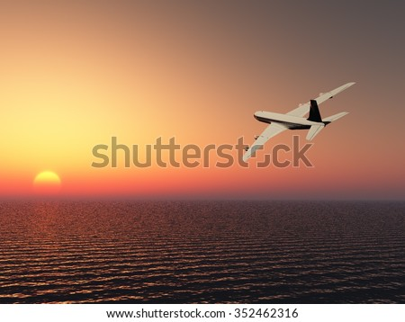 Airplane with sunset sky
