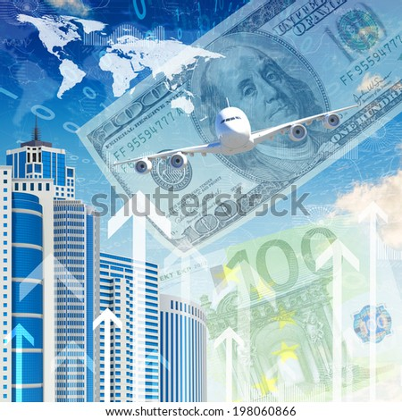 Airplane with the background of skyscrapers and arrows. Concept growth in business