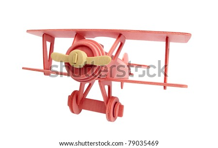 Airplane wooden toy vintage - stock photo