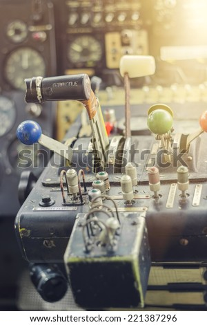 Airplane Yoke in a Small Vintage Aircraft, closeup. Retro colors - stock photo
