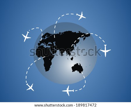 Airplanes around the globe lines - stock photo