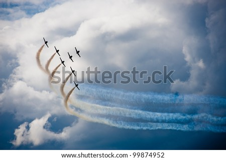 airplanes in a flight show - stock photo