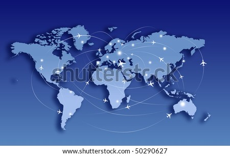 Airplanes in route, comunication - stock photo