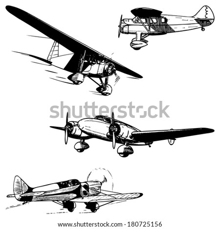 Airplanes set. Vintage style illustration. Historical aircrafts isolated on white background. - stock photo