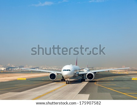 Airplanes waiting for take off - stock photo