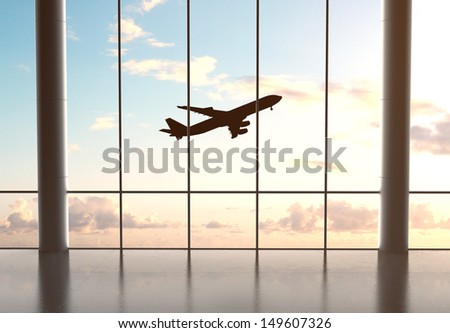 airport and airplane in blue sky - stock photo