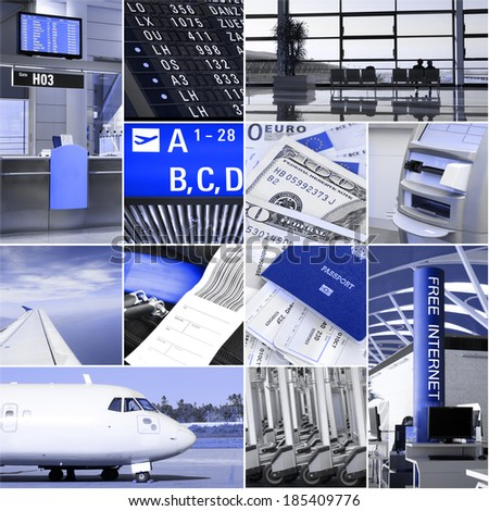 Airport and travel collage - stock photo