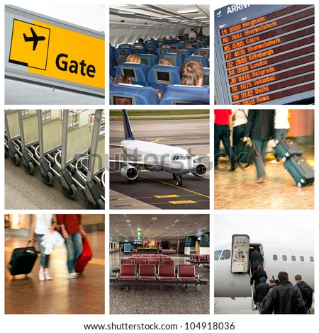 Airport and travel theme - college of nine photos - stock photo
